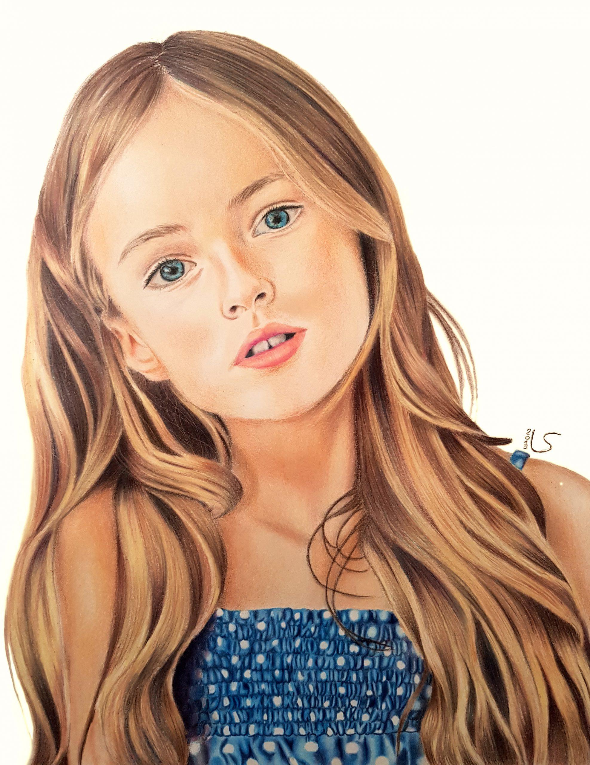 Portrait de Kristina Pimenova aux crayons de couleurs par Laurie Sénacq