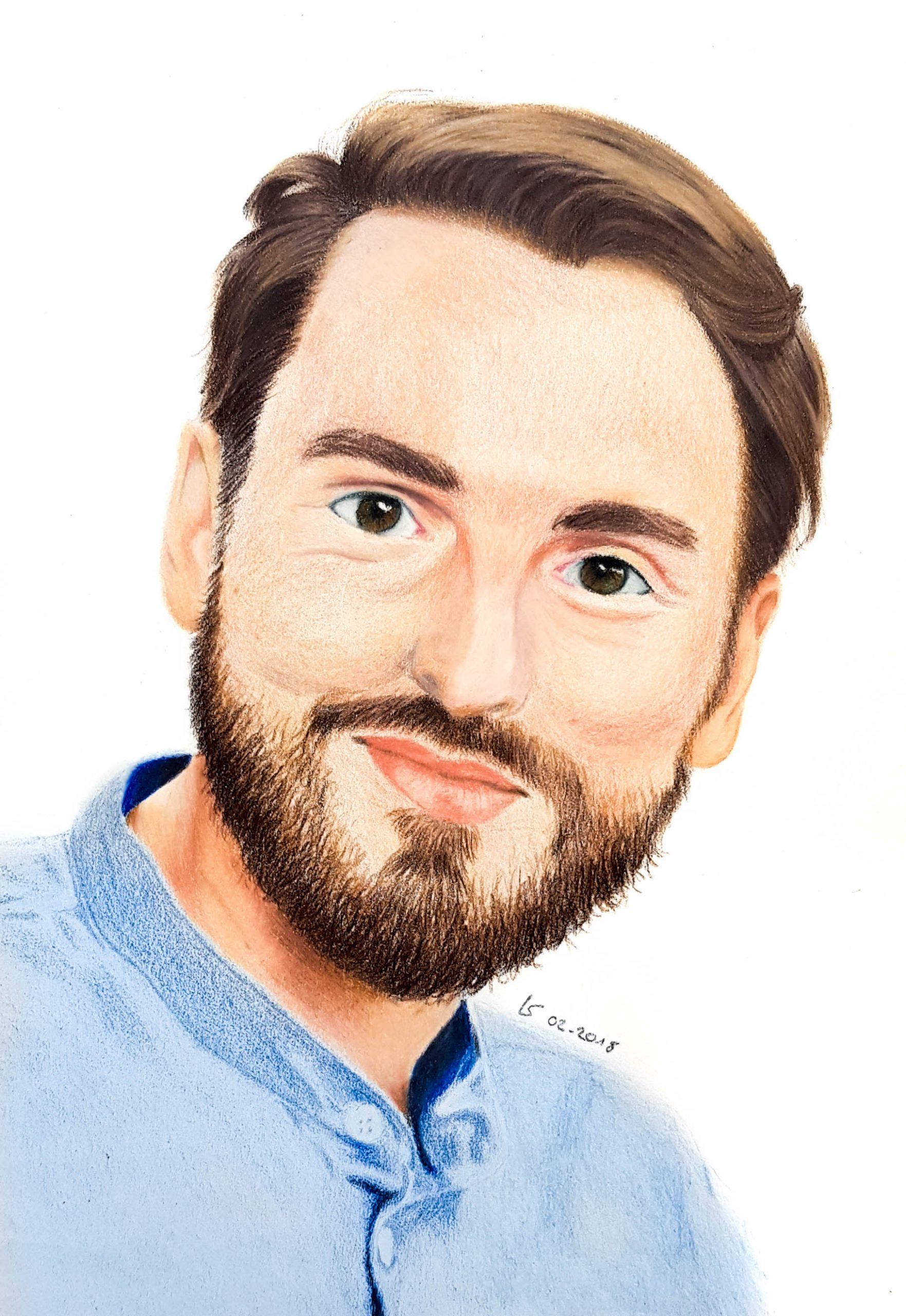 Portrait de Christophe Willem aux crayons de couleurs par Laurie Sénacq