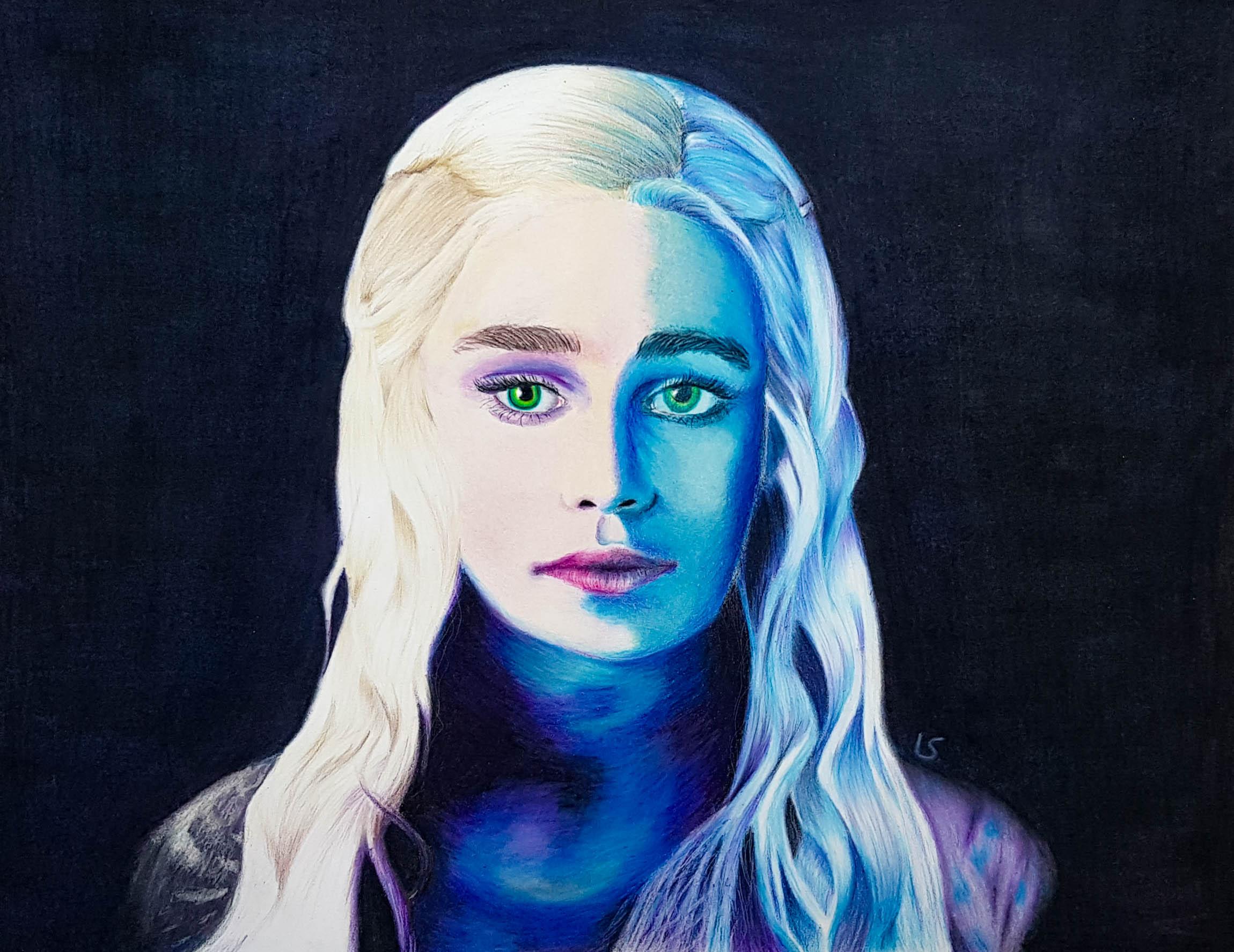 Portrait de Daenerys aux crayons de couleurs par Laurie Sénacq