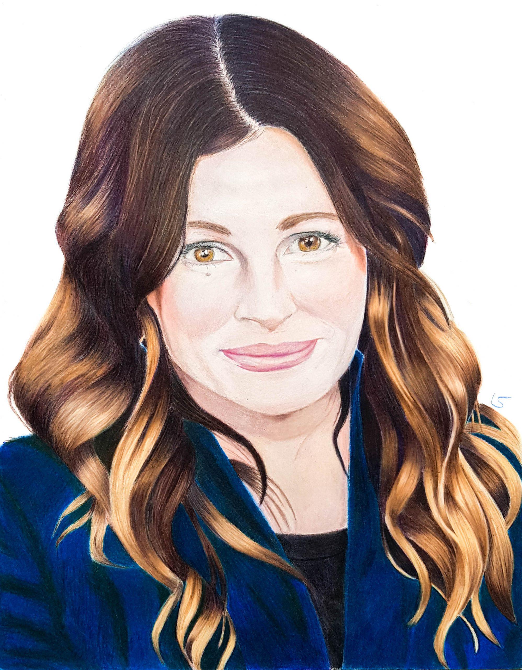 Portrait de Julia Roberts aux crayons de couleur par Laurie Sénacq