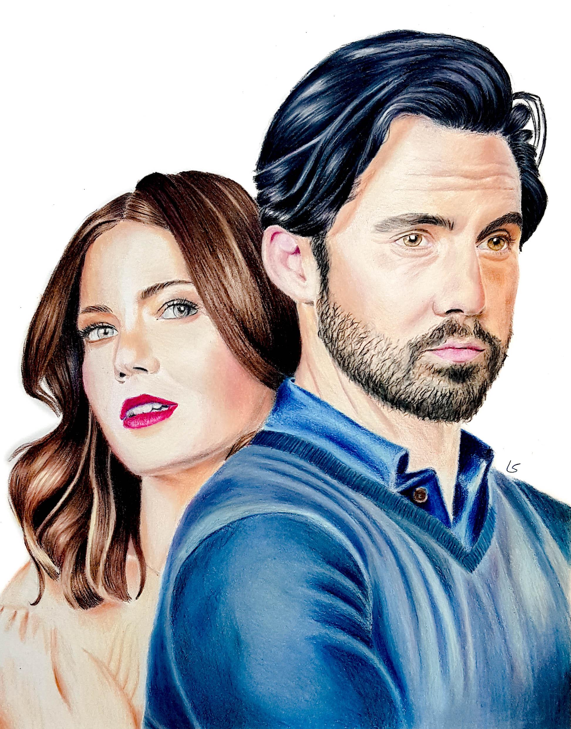 """Portrait de Mandy Moore et Milo Ventimiglia de la série """"This is us"""""""