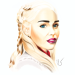 Portrait digital de Daenerys de Game of thrones par Laurie Sénacq