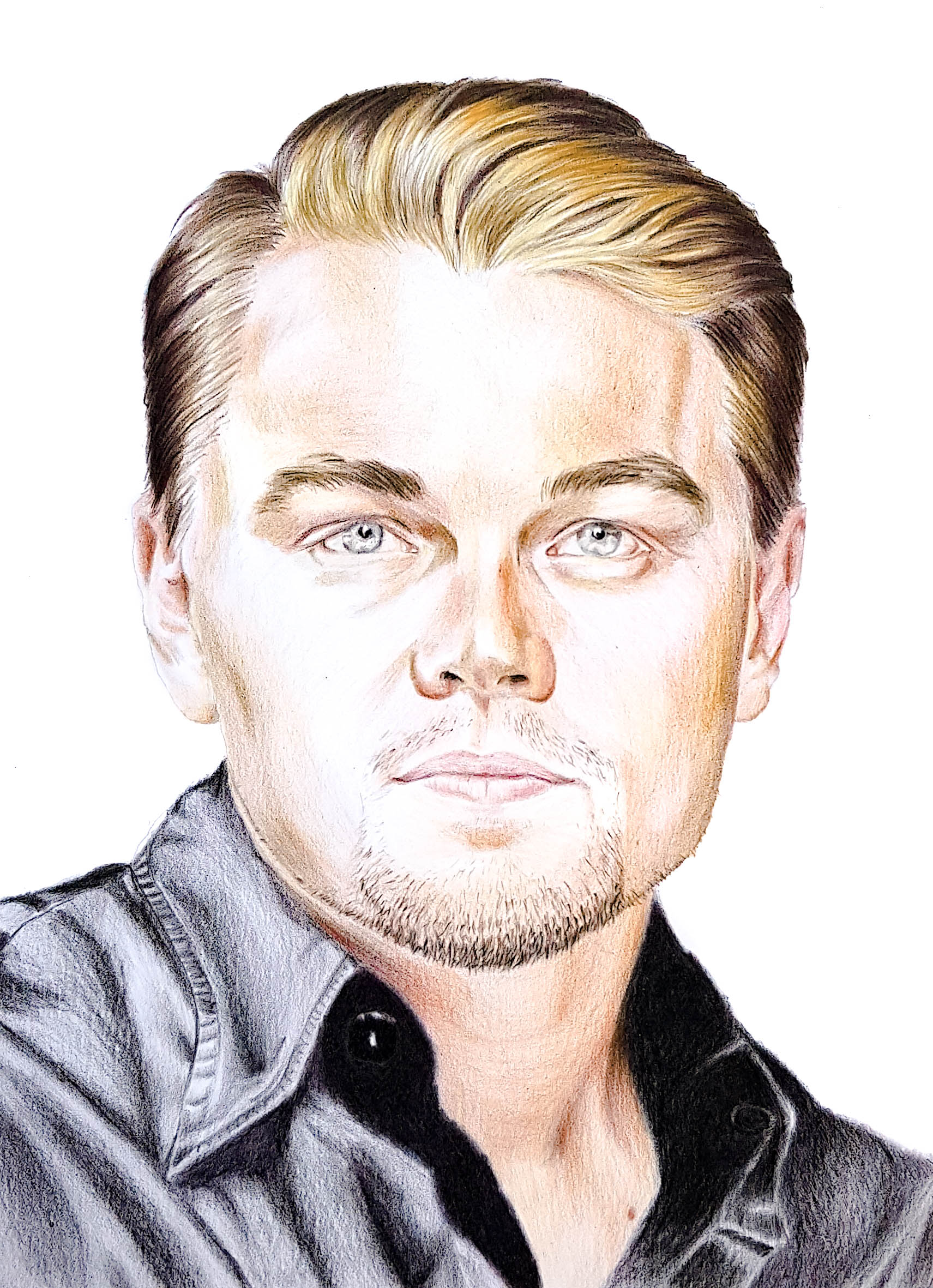 Portrait de Leonardo DiCaprio aux crayons de couleurs par Laurie Sénacq
