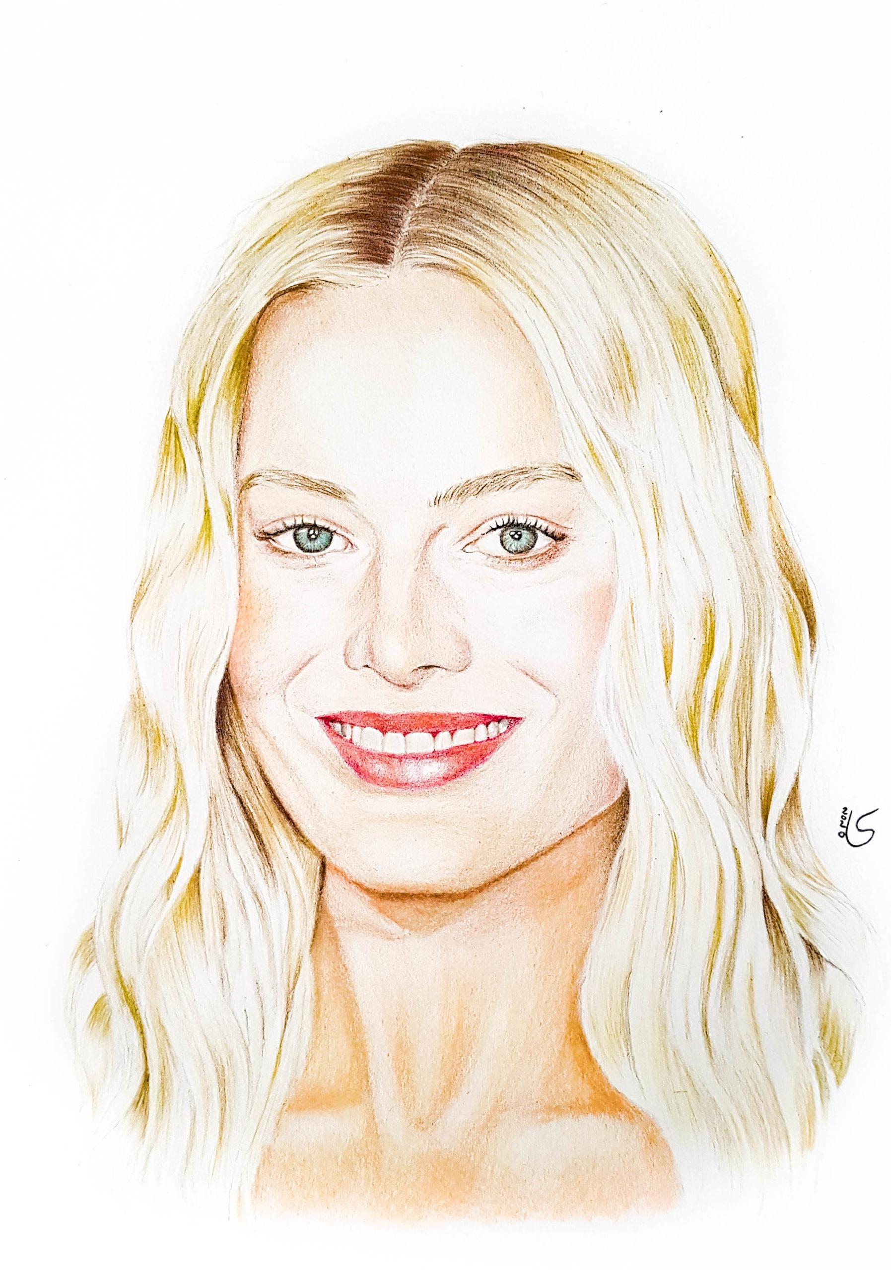 Portrait de Margot Robbie aux crayons de couleurs par Laurie Sénacq